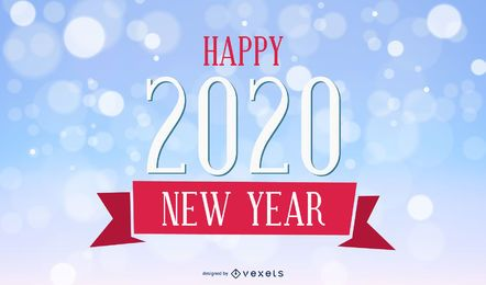 2020 Vintage New Year Card on Bokeh Background