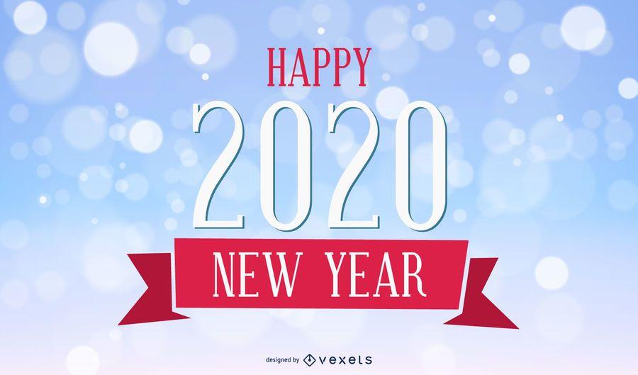 Tarjeta de año nuevo vintage 2020 sobre fondo Bokeh