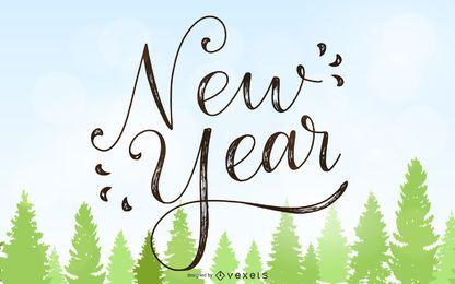 Tarjeta de año nuevo vintage 2015 con árboles de Navidad