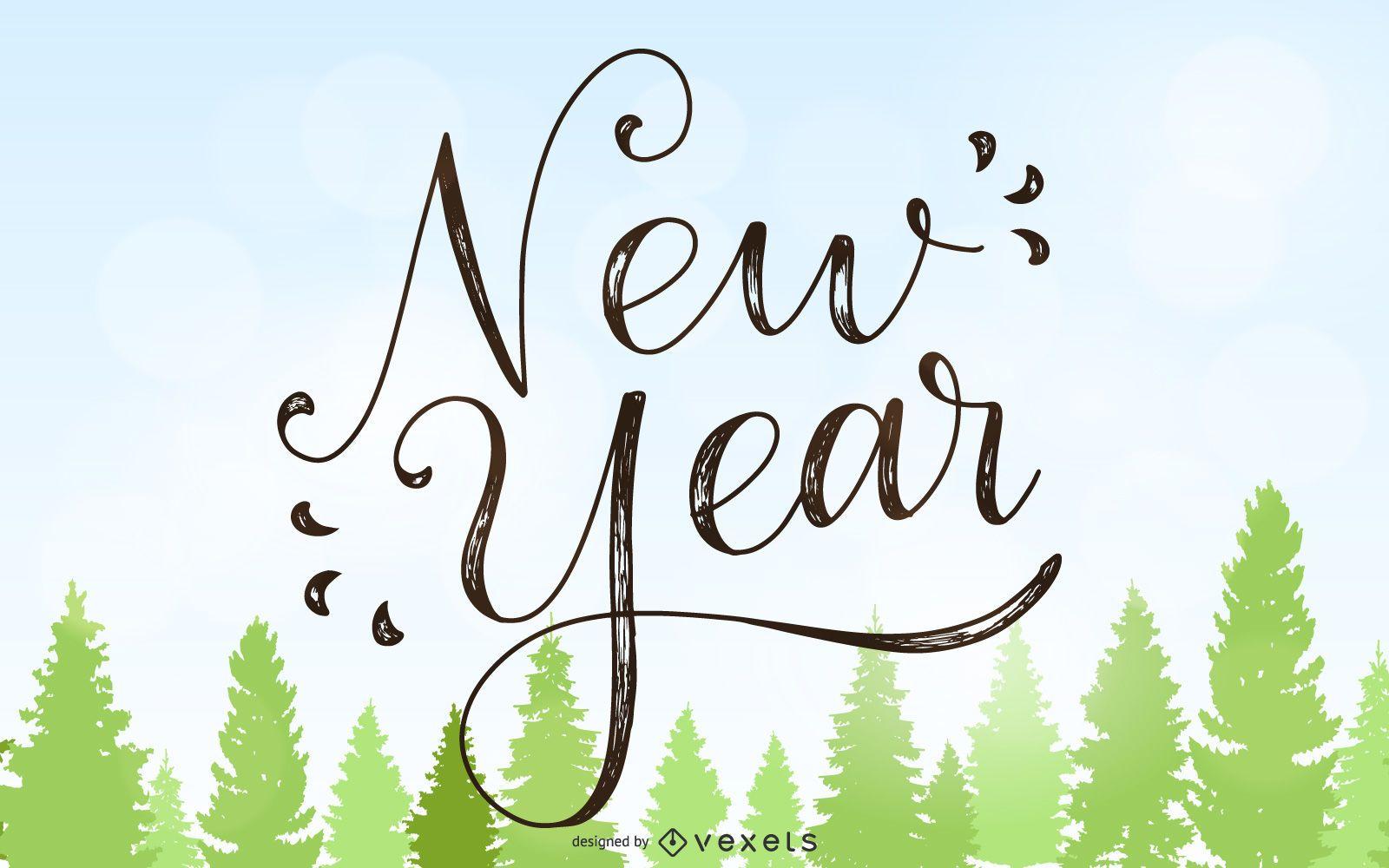 Cartão vintage de ano novo de 2015 com árvores de Natal