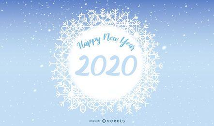 Banner de copo de nieve 2020 año nuevo
