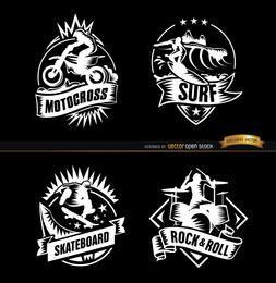 4 insignias de rock y deportes extremos