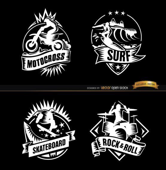 4 deportes extremos y distintivos de rock.