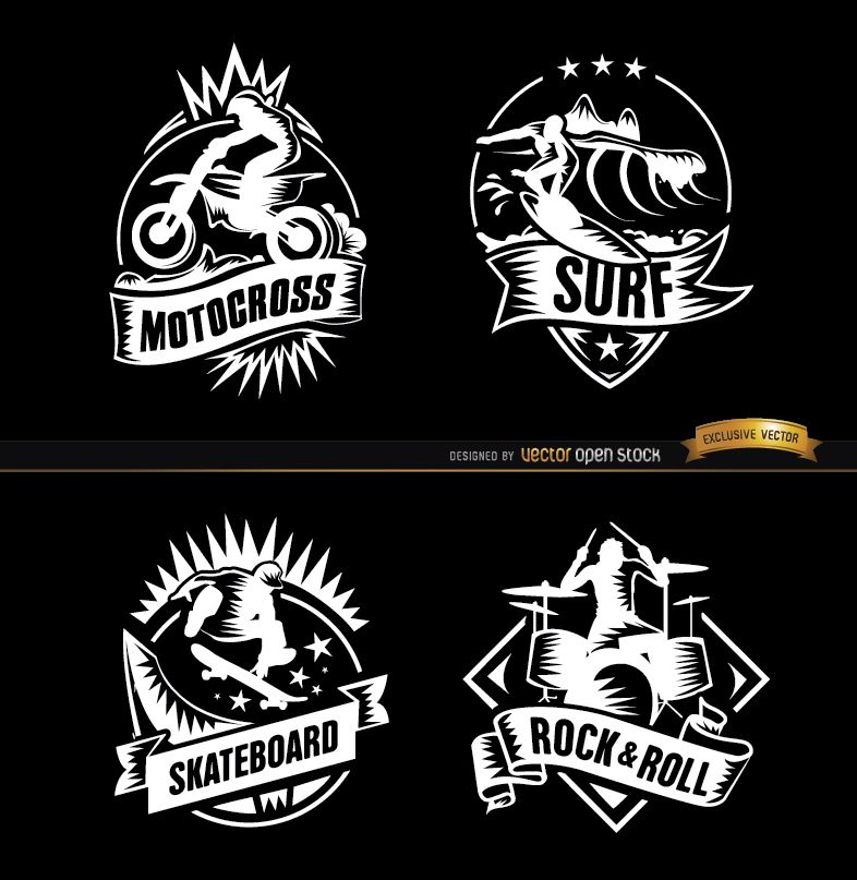 4 Extreme sports and rock badges