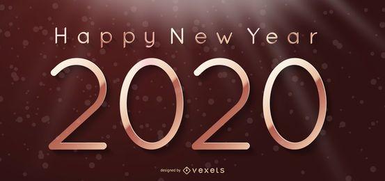Hintergrund des neuen Jahres 2020 auf Lichtvorhang