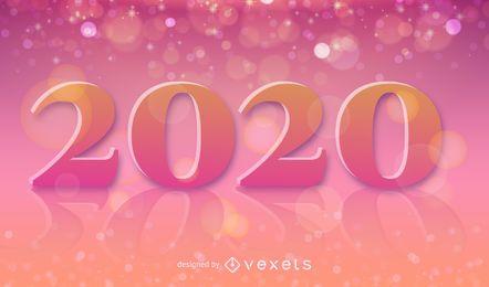 Decorative 2020 bokeh illustration