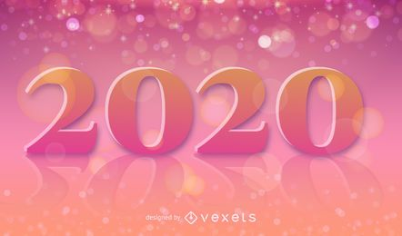 Decorative 2020 Text on Colorful Background