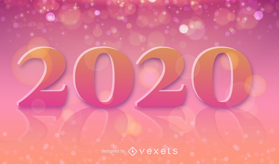 Texto decorativo de 2020 em fundo colorido