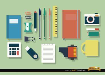 Objetos do escritório ícone conjunto