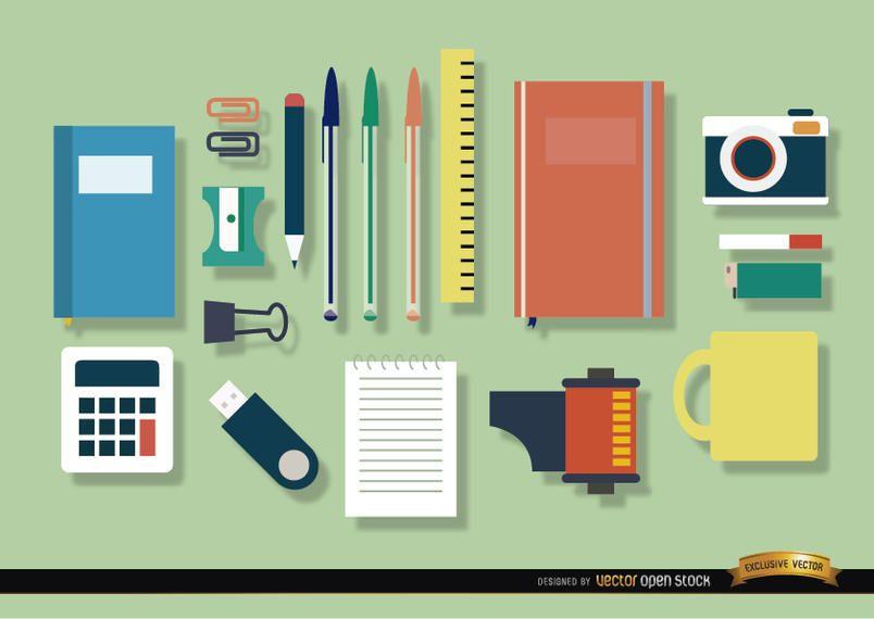 Conjunto de ícones de objetos de escritório