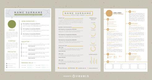 Modelo de CV elegante de 4 páginas de estilo clássico