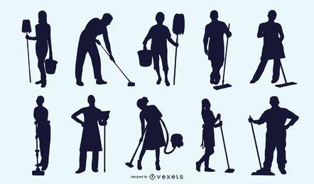 Pack de Profissão Cleaner para Silhueta em Preto e Branco