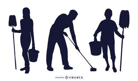 Paquete de profesión de limpiador de silueta en blanco y negro