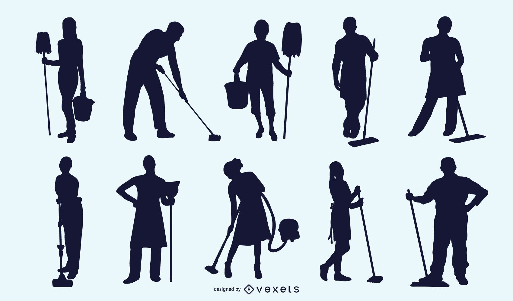 Black Silhouette Cleaner Profession Pack