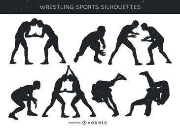 Pack de deportes de lucha libre silueta