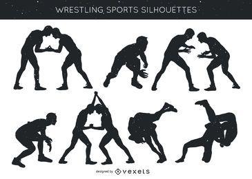 Silhueta de pacote de esportes de luta livre