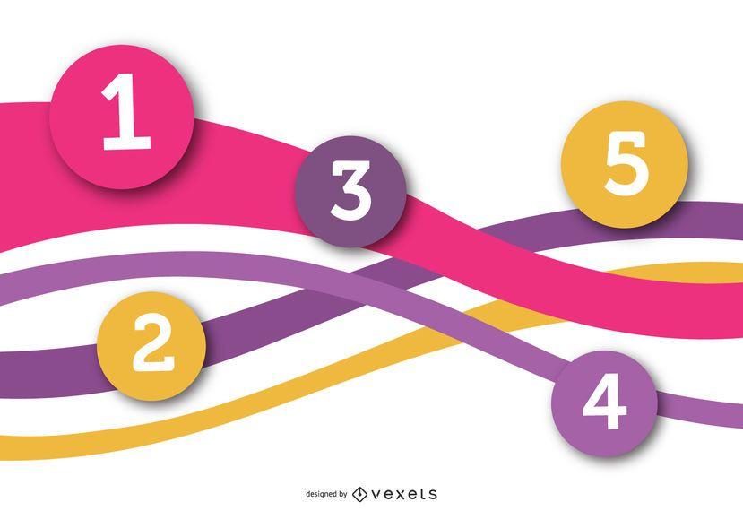 Círculos numerados multicoloridos na onda infográfico