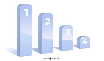 Plantilla de infografía gráfico gris 3D creciente