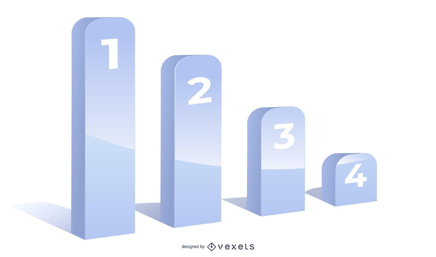 Infografía de gráfico de crecimiento gris 3D