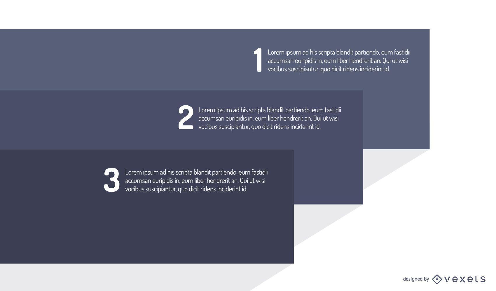 Infografía de rectángulos gris azul apilados