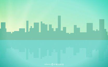 Cidade abstrata geométrica à beira do lago verde