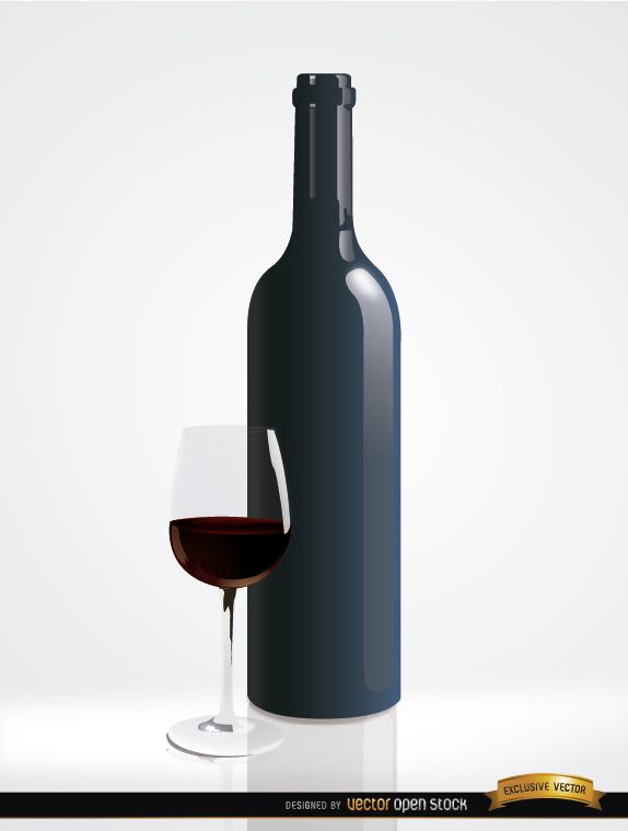 Simple red wine bottle and glass