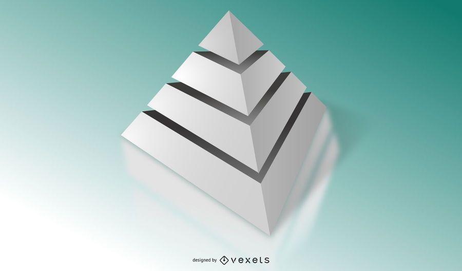 3D Grey Pyramid Diagram Template