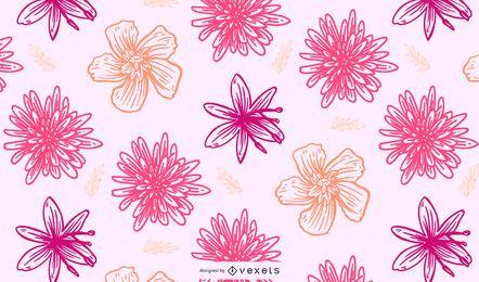 Fondo de patrón floral retro inconsútil