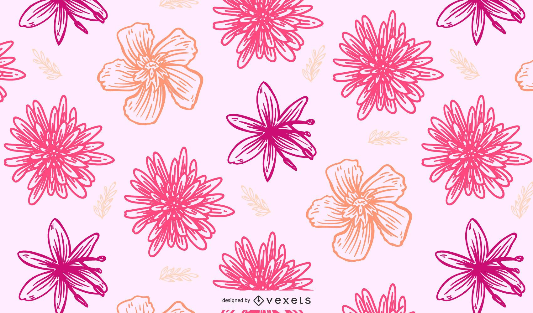 Seamless Retro Floral Pattern Background
