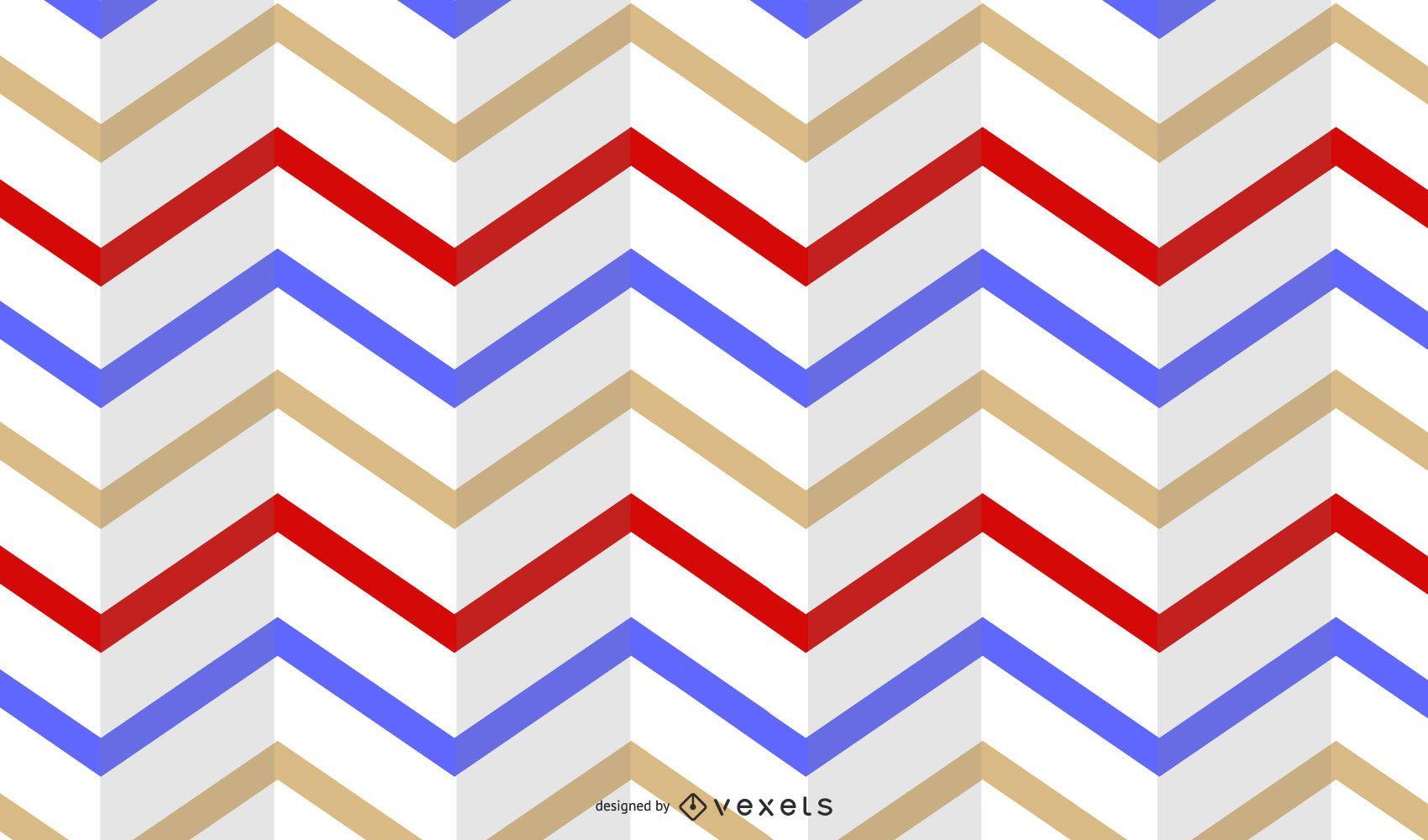 Folded Horizontal Stripe Multicolor Retro Pattern