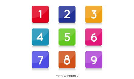 Infografía de cuadrados brillantes de colores