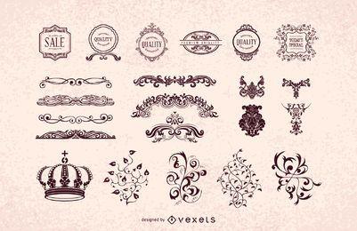 Paquete de adornos decorativos heráldicos vintage