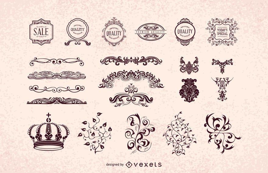 Weinlese-heraldischer dekorativer Verzierungs-Satz