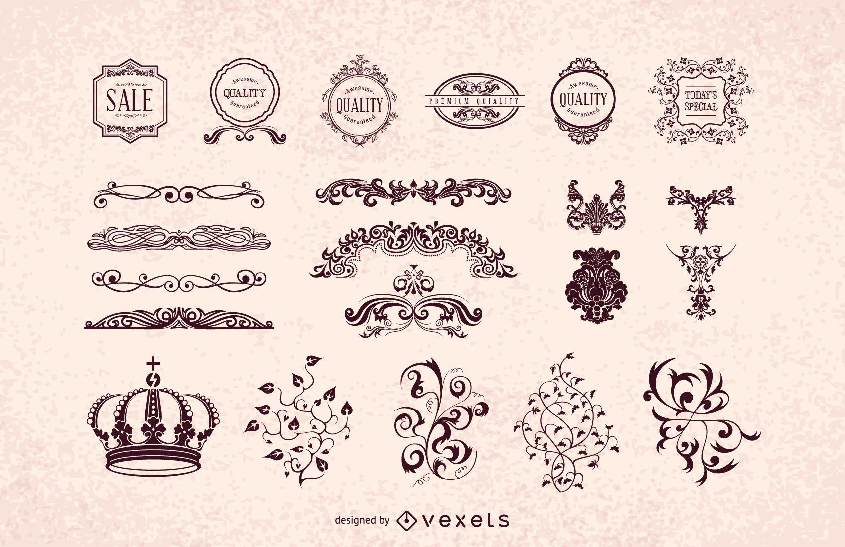 Pacote de enfeites decorativos heráldicos vintage