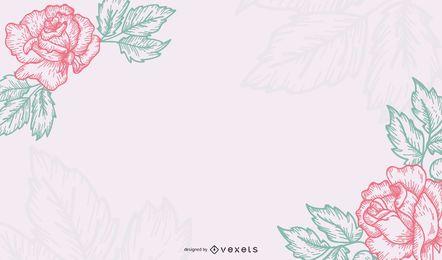 Cartão vintage floral mínimo