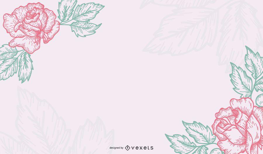 Tarjeta de felicitación floral mínima del vintage