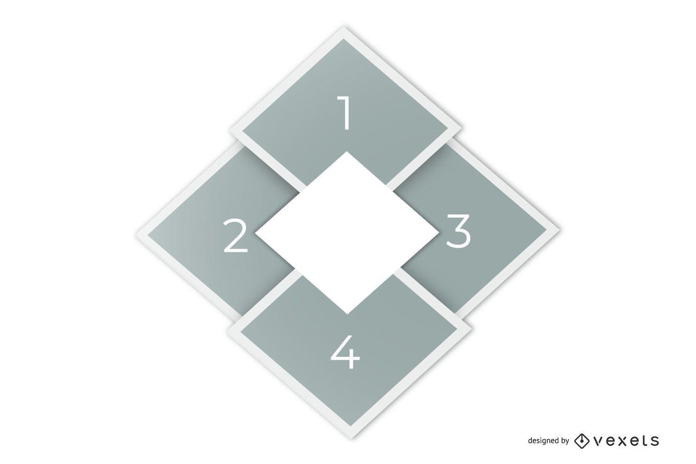 Plantilla de infografía de diseño de diamante elegante