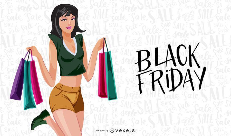 Jovem garota quente de compras dos desenhos animados