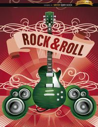 Cartaz de rock de guitarra elétrica