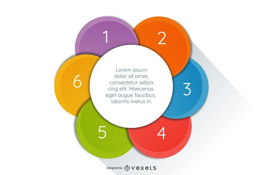 Reciclaje de círculos colorido infografía brillante