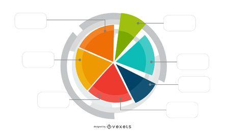 Rueda blanca en infografía circular colorido