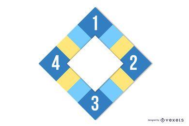 Infografía de cuadrados coloridos de diseño plano de diamante