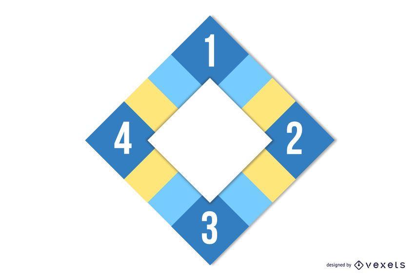Disposición plana de diamantes coloridos cuadrados infografía