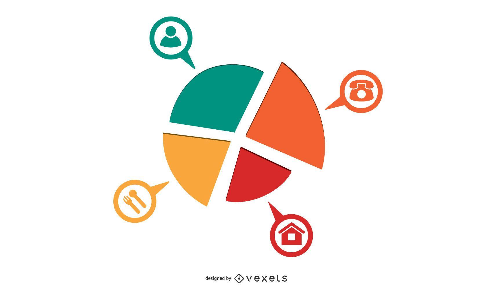 Infografía circular colorida rueda triangular