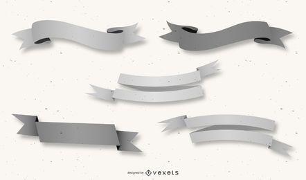 Pacote de fitas criativas 3D em cinza