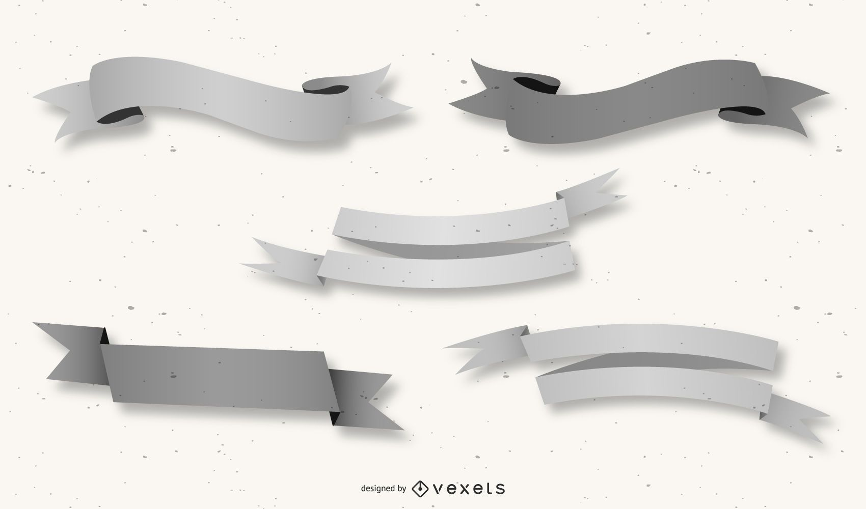 Grey 3D Creative Ribbon Pack