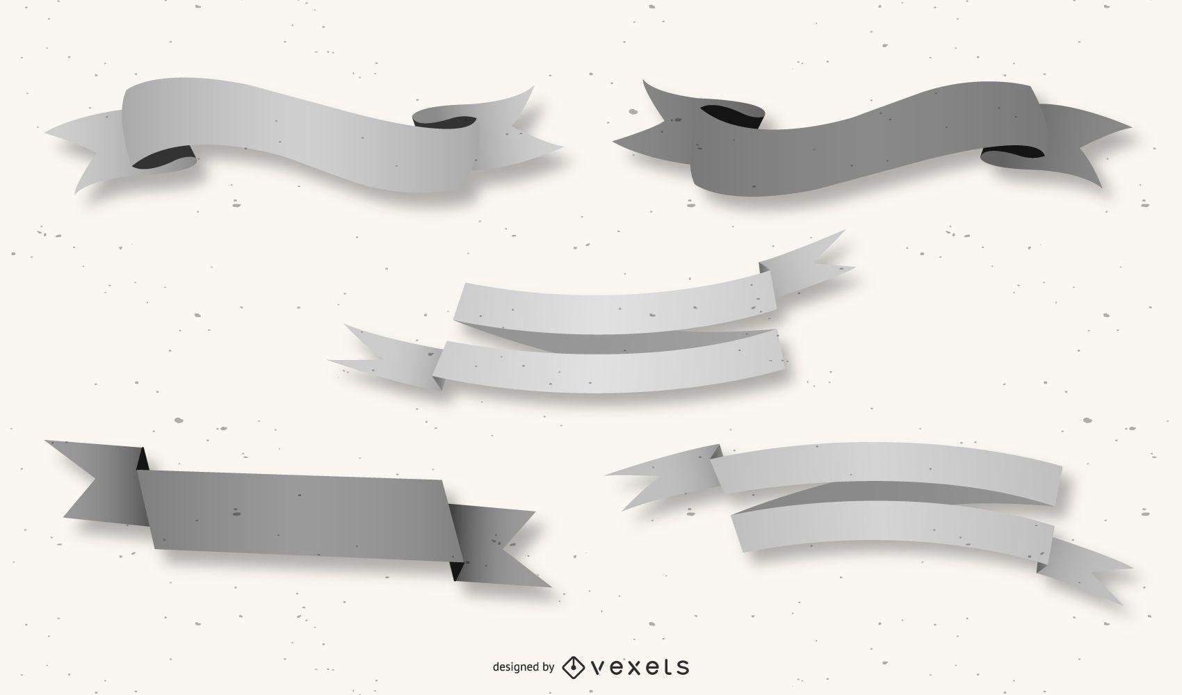 Pacote de fita criativa 3D cinza