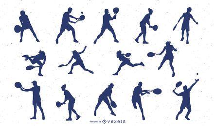 Pacote de silhueta de jogador de tênis masculino e feminino