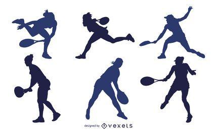 Männlicher und weiblicher Tennisspieler-Silhouette-Satz