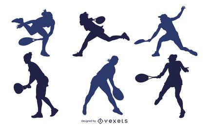 Pack de silueta de jugador de tenis masculino y femenino